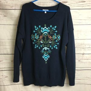 Sonoma Navy Blue Floral Embroidered Sweater